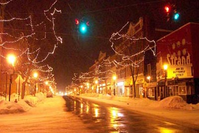 Main Street Brockport on a Winter Night